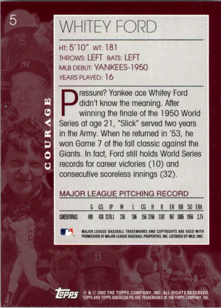 2002 Topps American Pie #5 Whitey Ford back image
