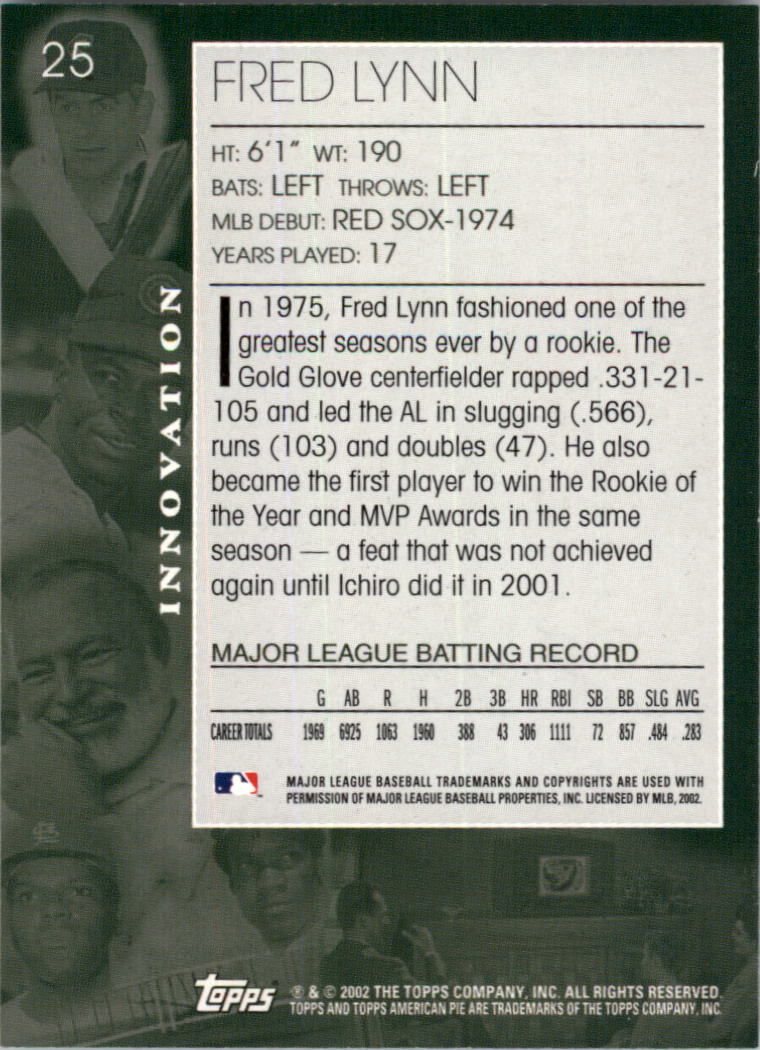 2002 Topps American Pie #25 Fred Lynn back image