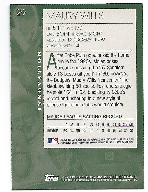 2002 Topps American Pie #29 Maury Wills back image