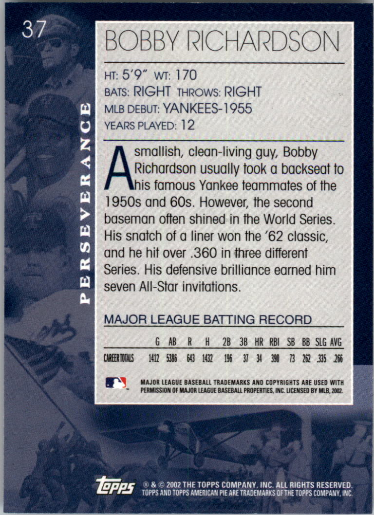 2002 Topps American Pie #37 Bobby Richardson back image