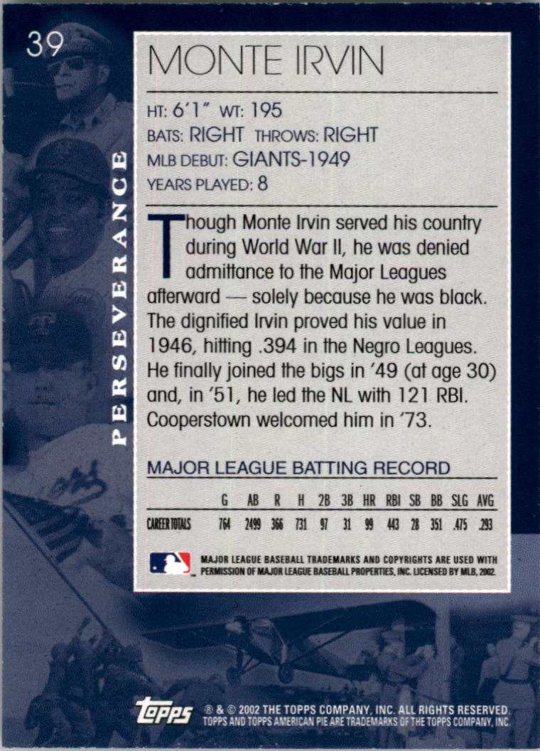 2002 Topps American Pie #39 Monte Irvin back image