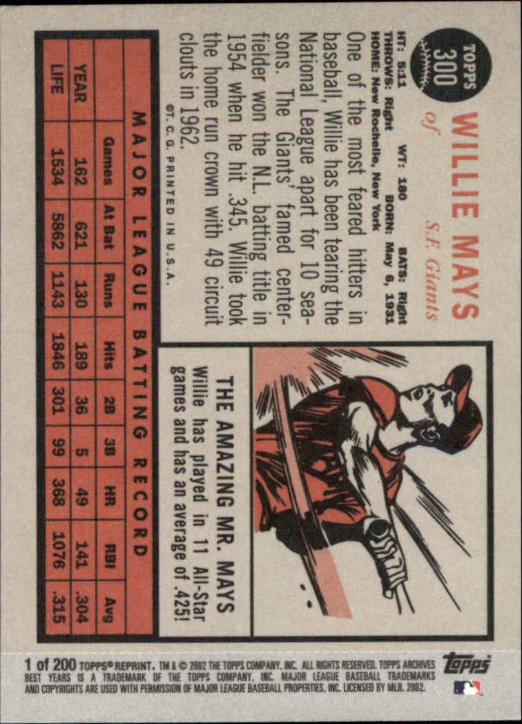 2002 Topps Archives #1 Willie Mays 62 back image