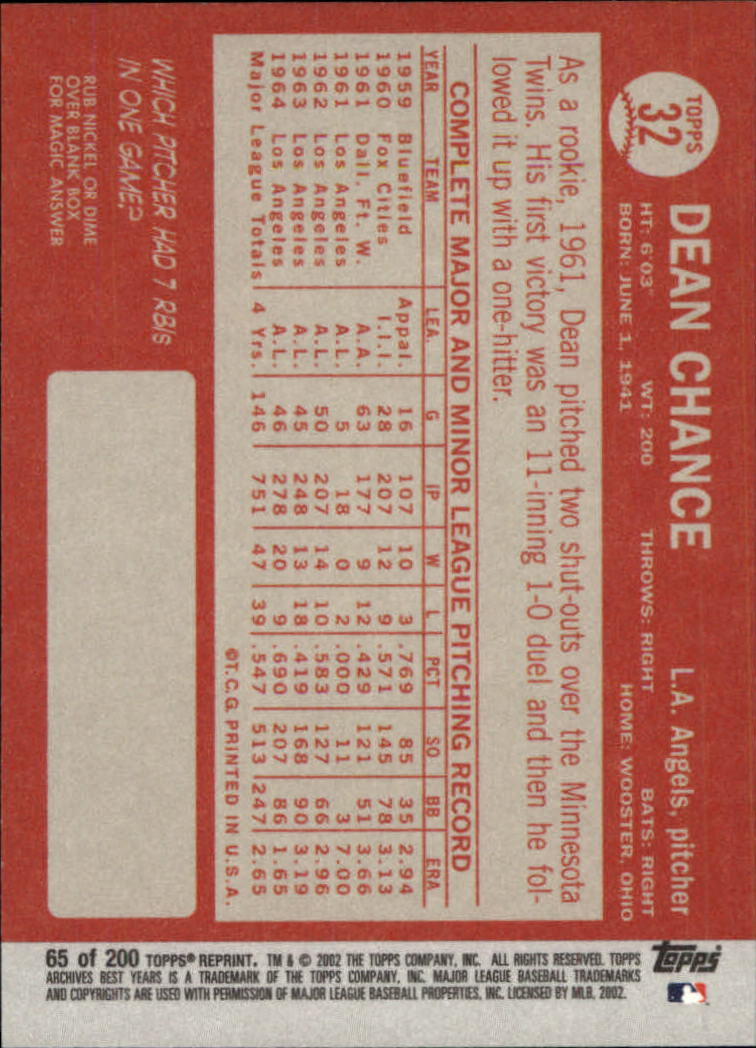 2002 Topps Archives #65 Dean Chance 64 back image