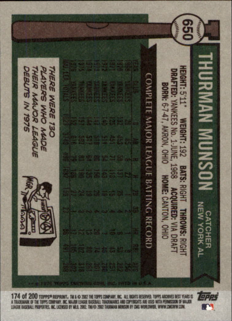 2002 Topps Archives #174 Thurman Munson 76 back image