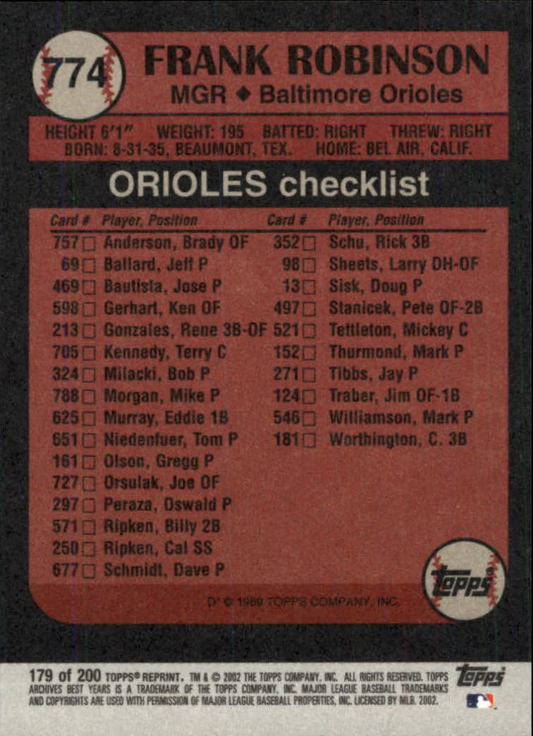 2002 Topps Archives #179 Frank Robinson 89 MG back image