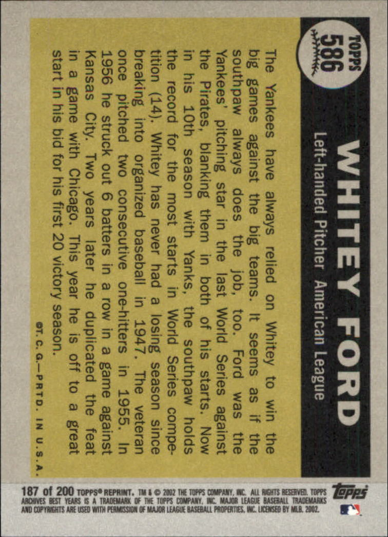 2002 Topps Archives #187 Whitey Ford 61 AS back image
