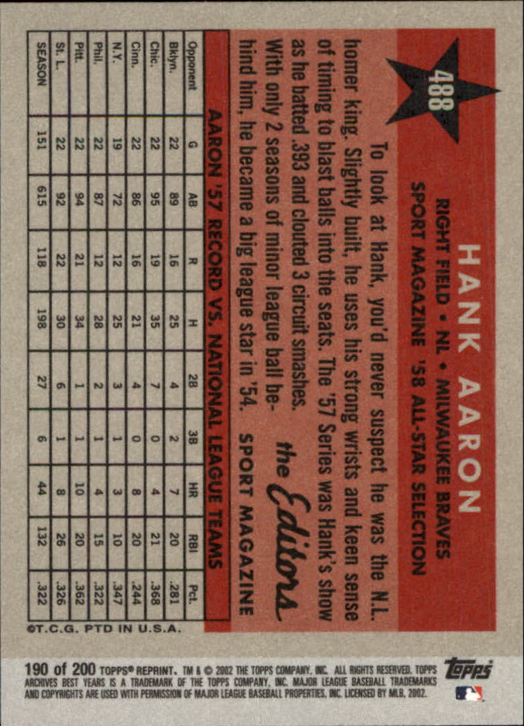 2002 Topps Archives #190 Hank Aaron 58 AS back image