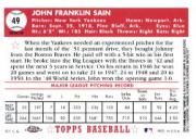 2002 Topps Chrome 1952 Reprints Refractors #52R16 Johnny Sain back image