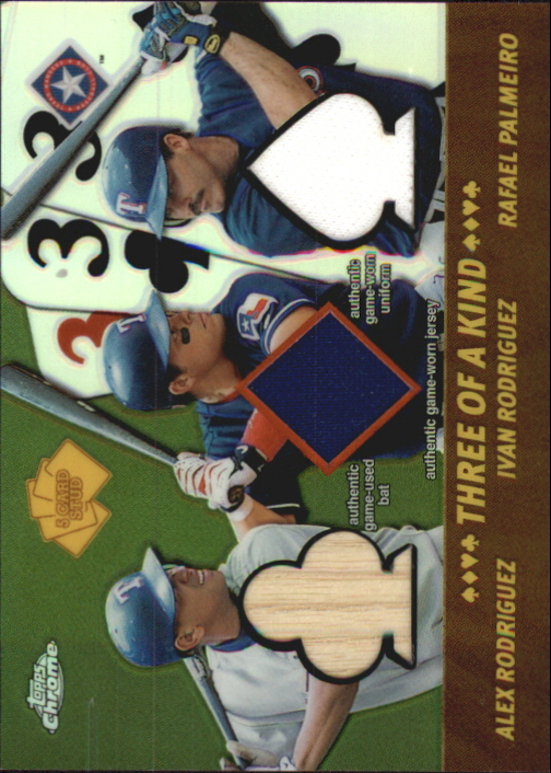 2002 Topps Chrome 5-Card Stud Three of a Kind Relics #5TAIR Alex Rodriguez Bat/Ivan Rodriguez Jsy/Rafael Palmeiro Uni