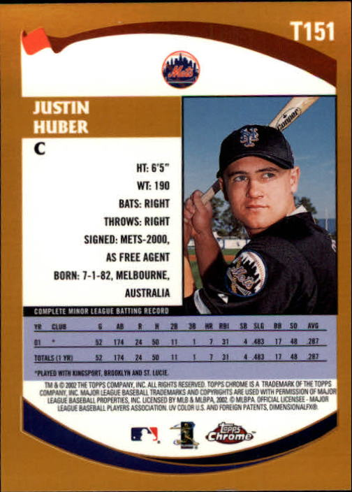2002 Topps Chrome Traded #T151 Justin Huber RC back image