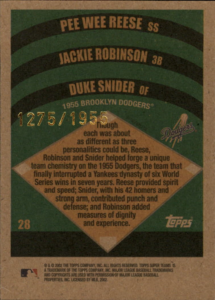 2002 Topps Super Teams Retrofractors #28 Reese/J.Robinson/Snider back image