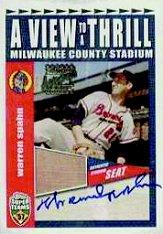 2002 Topps Super Teams A View To A Thrill Relics Autographs #VTWSA Warren Spahn/57