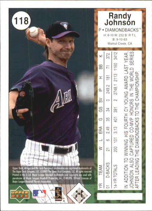 2002 UD Authentics #118 Randy Johnson back image