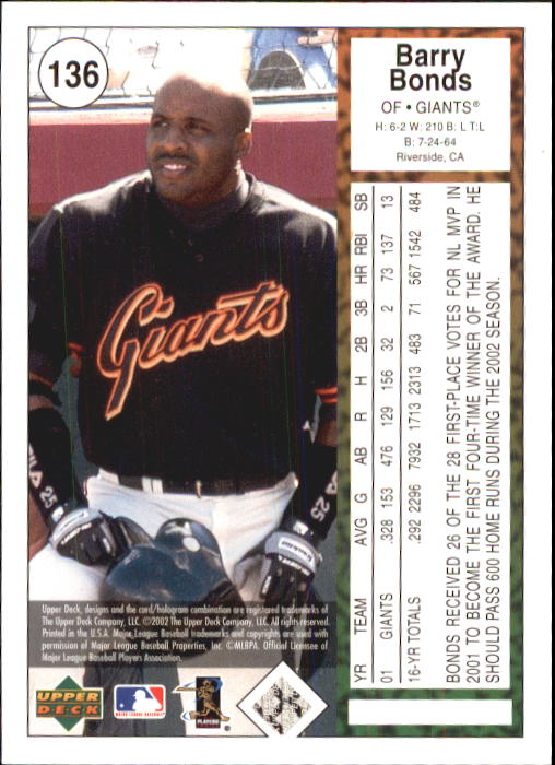 2002 UD Authentics #136 Barry Bonds back image