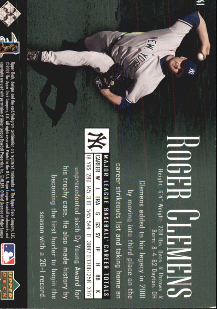 2002 UD Piece of History #41 Roger Clemens back image