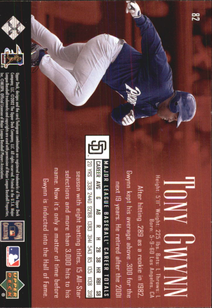 2002 UD Piece of History #82 Tony Gwynn back image