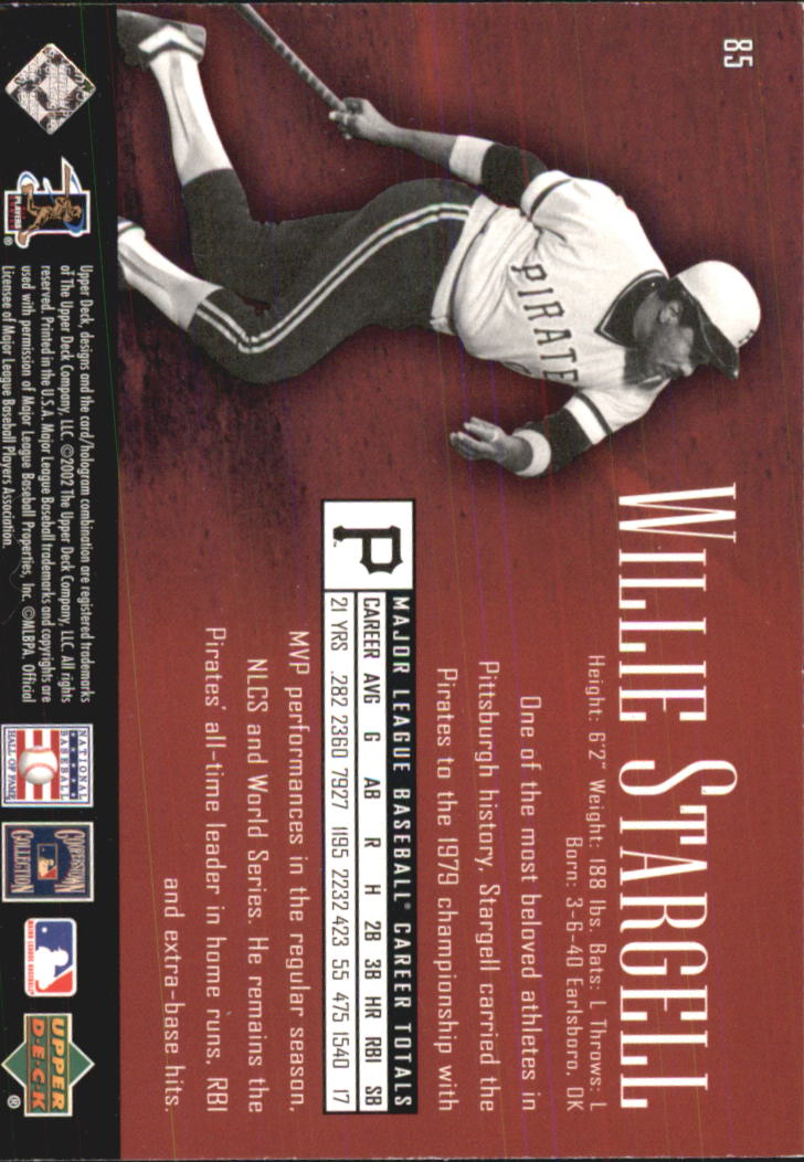 2002 UD Piece of History #85 Willie Stargell back image