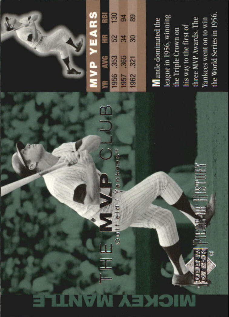 2002 UD Piece of History MVP Club #M7 Mickey Mantle