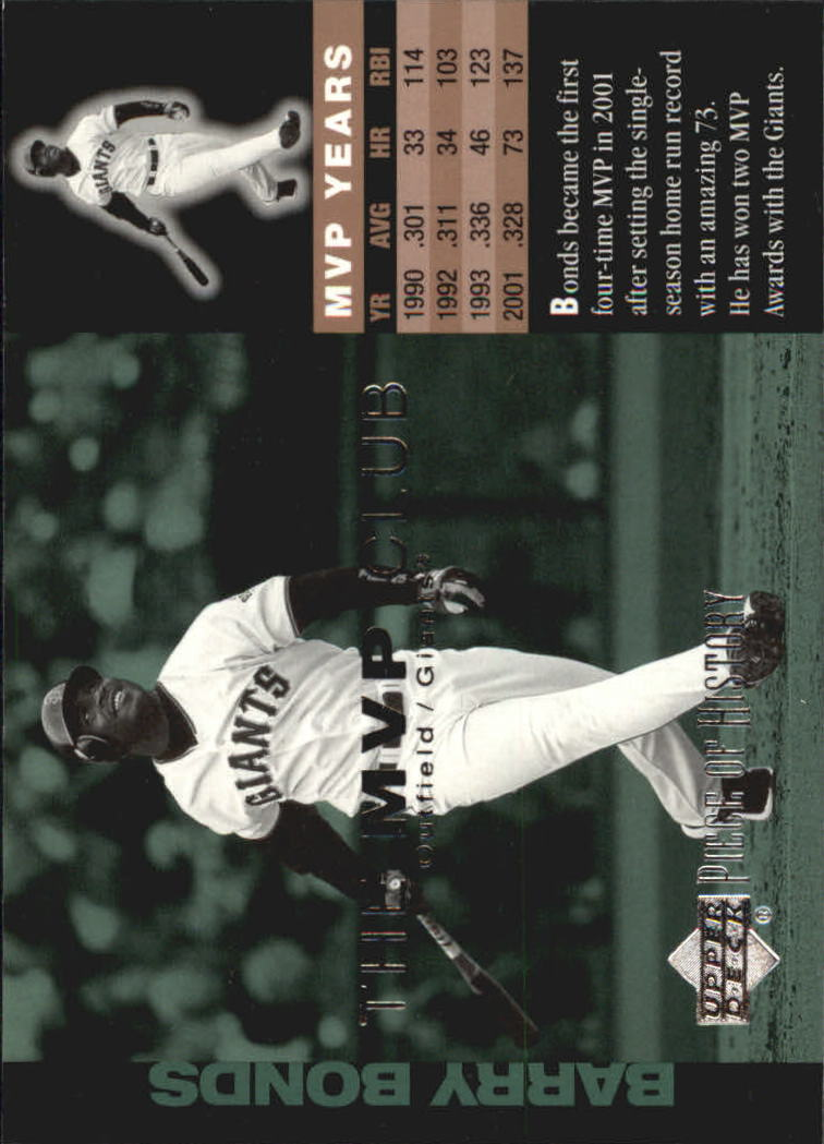 2002 UD Piece of History MVP Club #M8 Barry Bonds