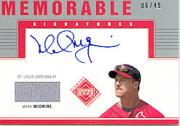 2002 Upper Deck Diamond Connection Memorable Signatures Bat #MMC Mark McGwire/49