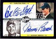 2002 Upper Deck Vintage Signature Combos #VSFB Carlton Fisk/Johnny Bench