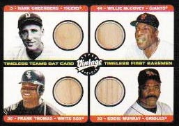 2002 Upper Deck Vintage Timeless Teams Game Bat Quads #B Hank Greenberg/Willie McCovey/Frank Thomas/Eddie Murray