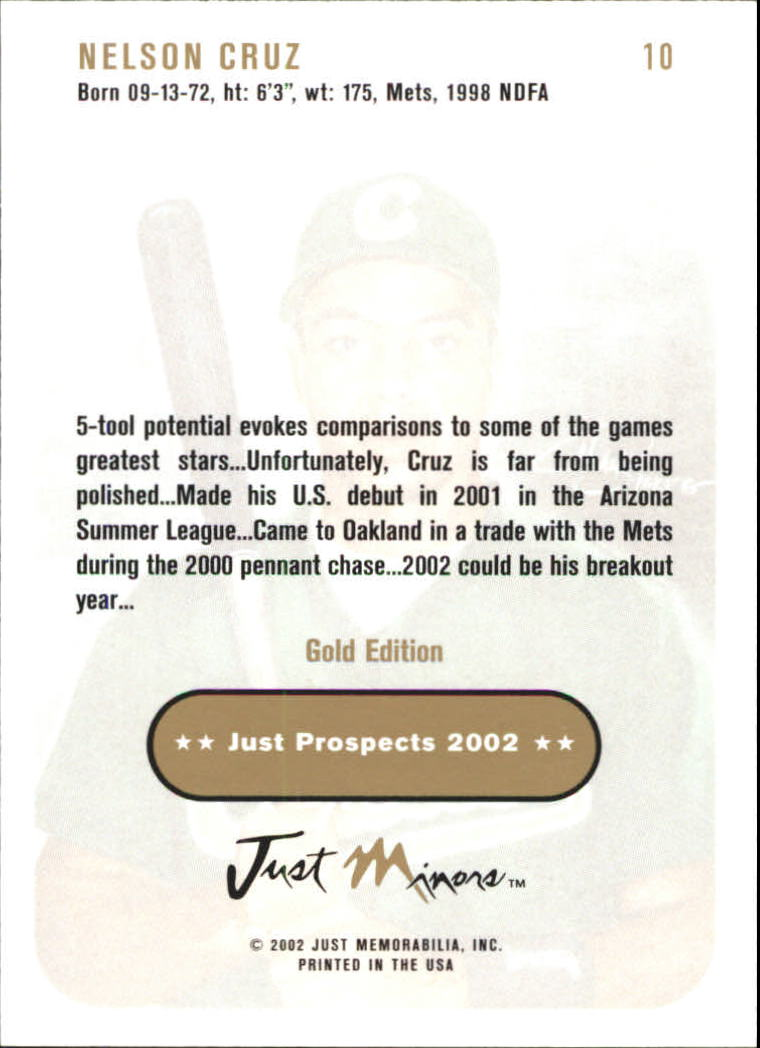 2002 Just Prospects Gold #10 Nelson Cruz back image