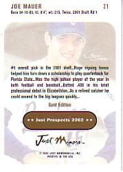 2002 Just Prospects Gold #21 Joe Mauer back image