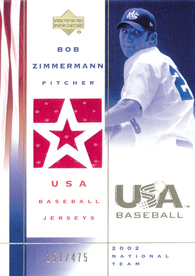 2002 USA Baseball National Team Jerseys #BZ Bob Zimmermann