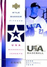 2002 USA Baseball National Team Jerseys #KB Kyle Bakker
