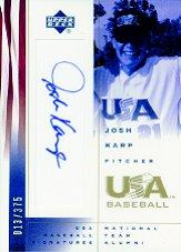 2002 USA Baseball National Team Signatures #JK Josh Karp