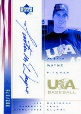 2002 USA Baseball National Team Signatures #JW Justin Wayne