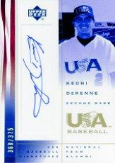 2002 USA Baseball National Team Signatures #KD Keoni DeRenne