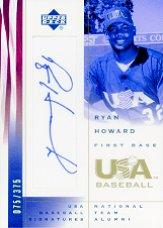 2002 USA Baseball National Team Signatures #RH Ryan Howard
