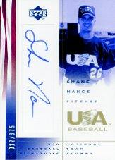 2002 USA Baseball National Team Signatures #SN Shane Nance