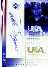 2002 USA Baseball National Team Signatures #ZS Zack Segovia