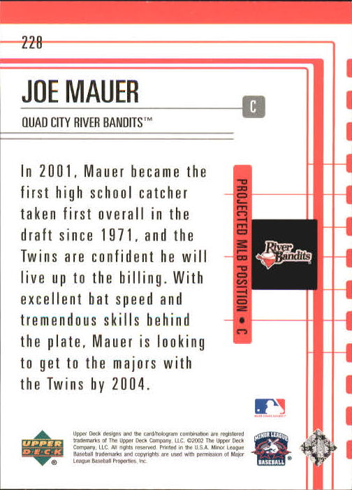 2002 UD Minor League #228 Joe Mauer OFT back image