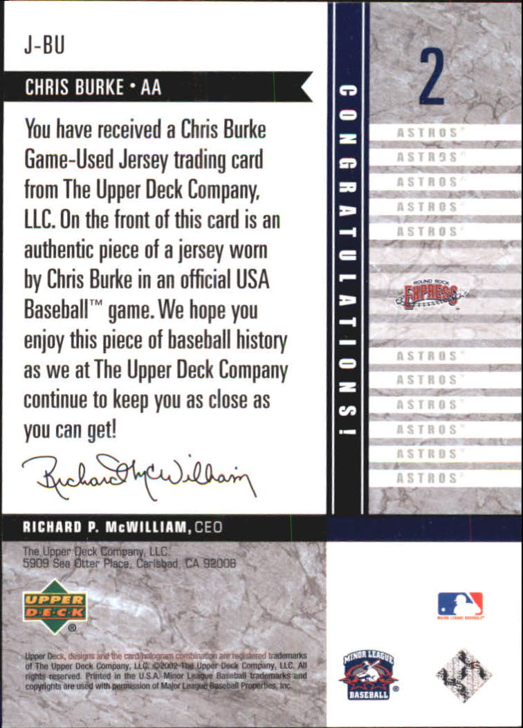 2002 UD Minor League Game Jerseys #JBU Chris Burke back image