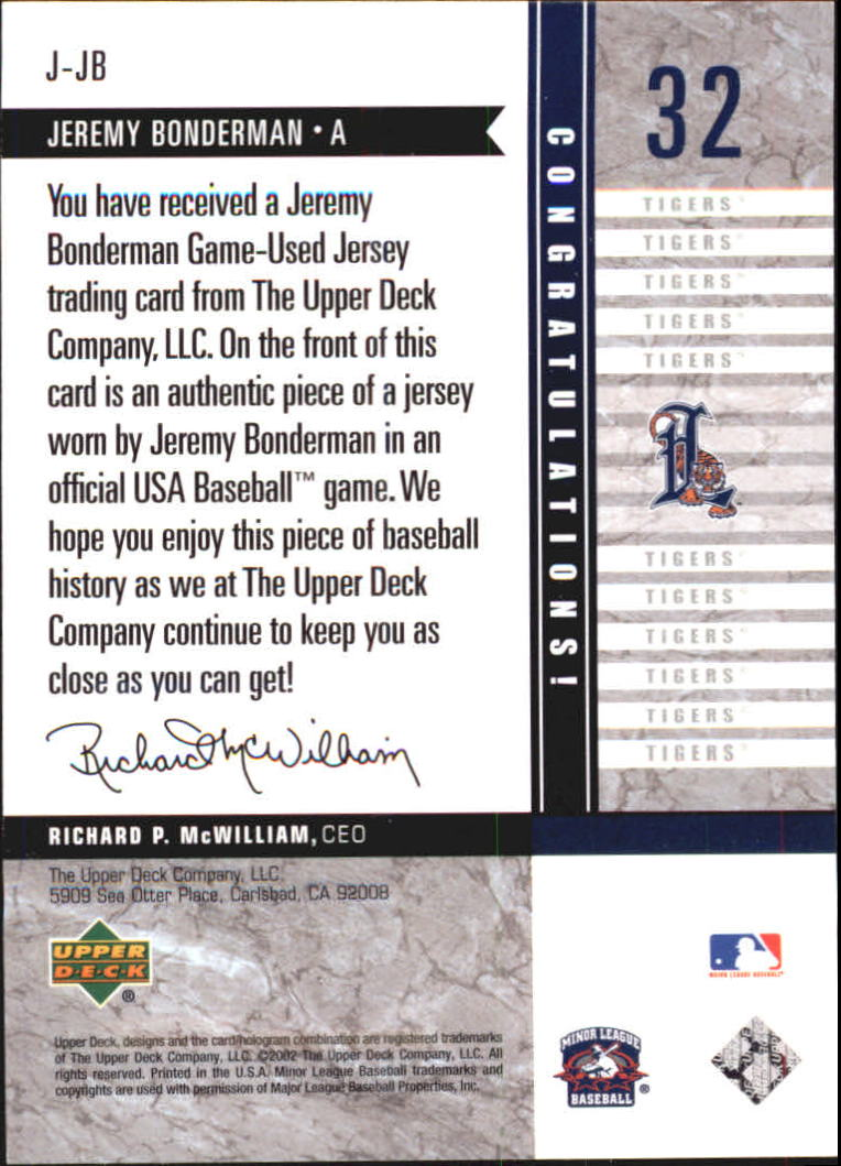 2002 UD Minor League Game Jerseys #JJB Jeremy Bonderman back image