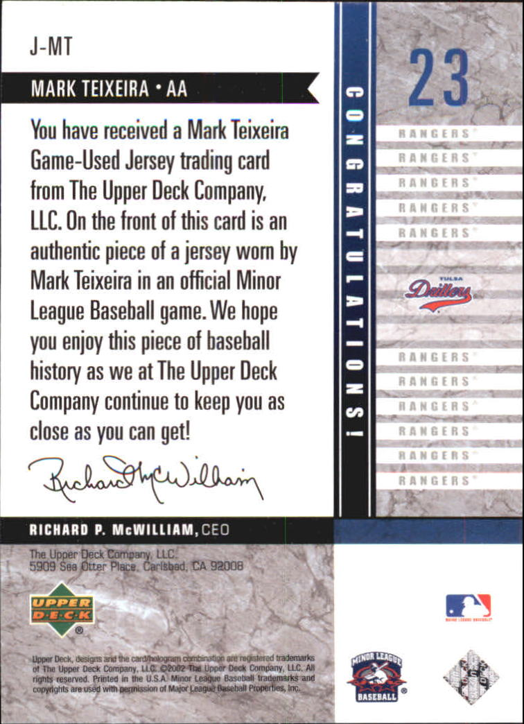 2002 UD Minor League Game Jerseys #JMT Mark Teixeira back image