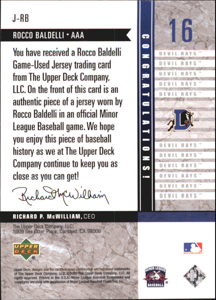 2002 UD Minor League Game Jerseys #JRB Rocco Baldelli back image