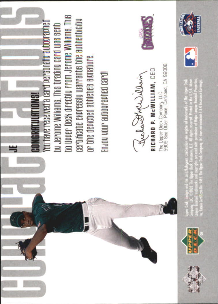 2002 UD Minor League Signature Collection #JE Jerome Williams back image