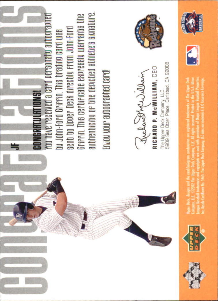 2002 UD Minor League Signature Collection #JF John-Ford Griffin back image
