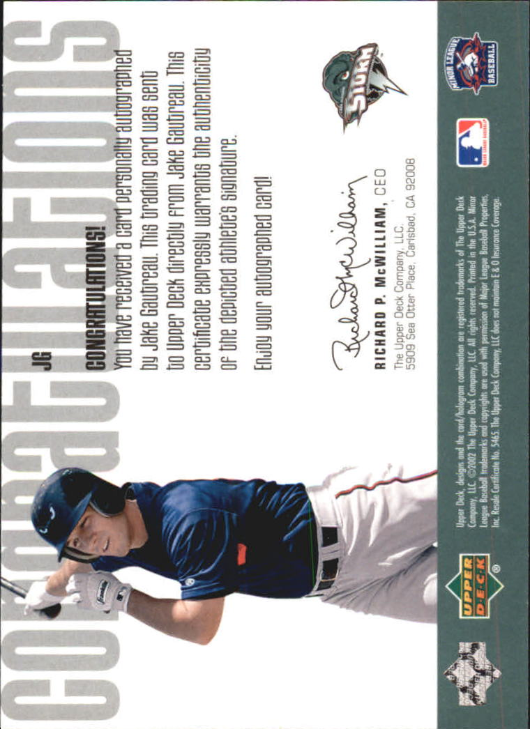 2002 UD Minor League Signature Collection #JG Jake Gautreau back image