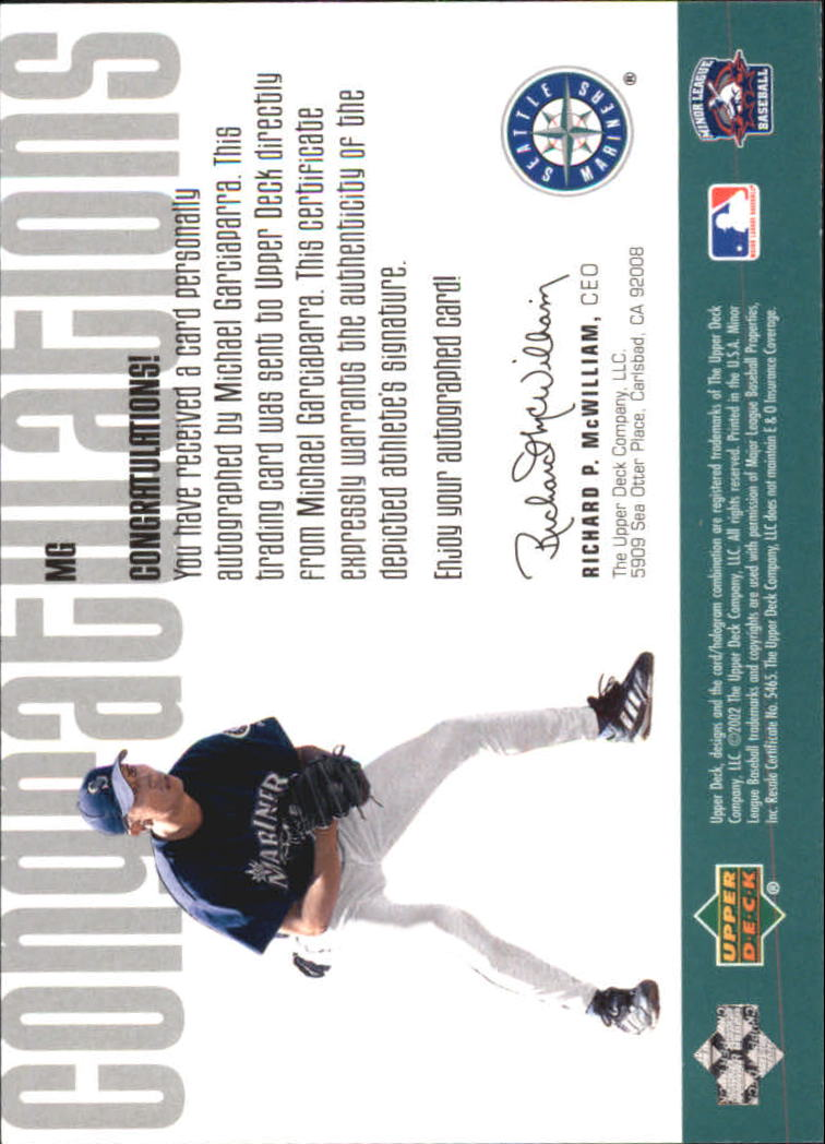 2002 UD Minor League Signature Collection #MG Michael Garciaparra back image