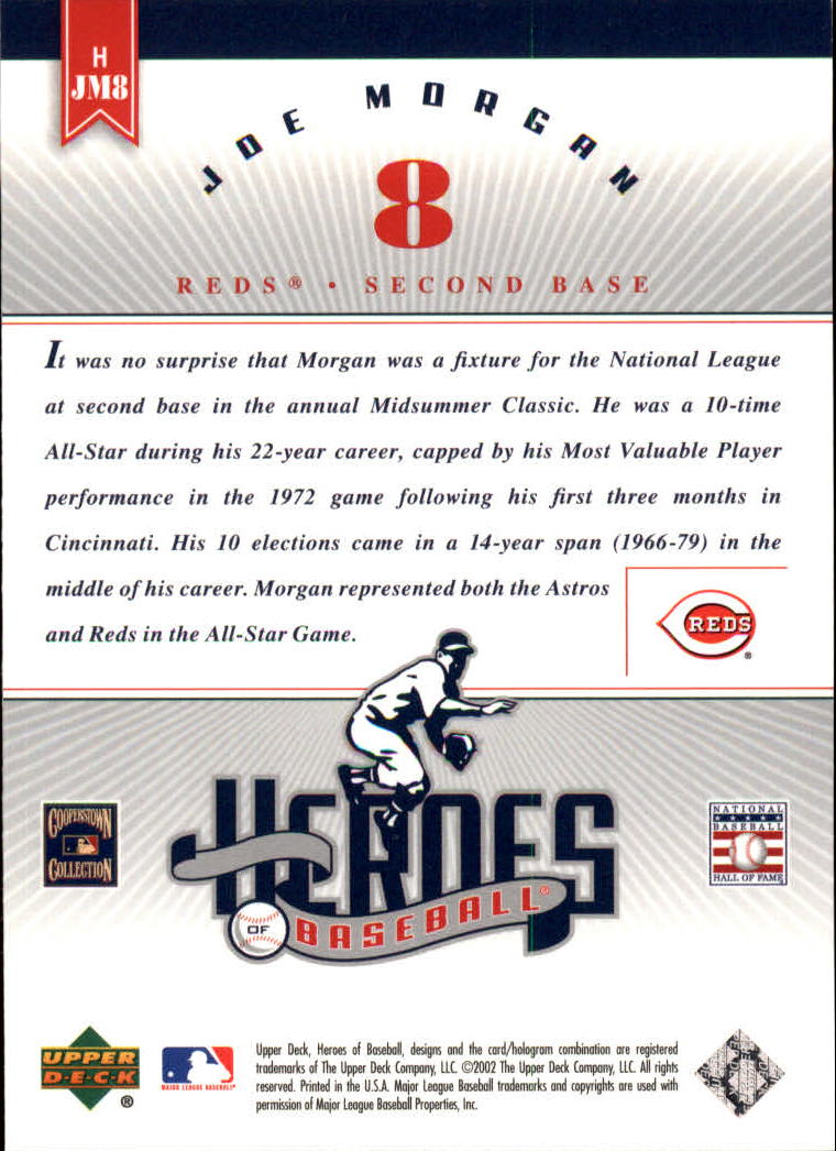 2002 Upper Deck Prospect Premieres Heroes of Baseball #HJM8 Joe Morgan
