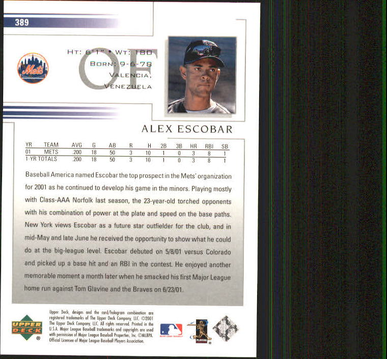 2002 Upper Deck #389 Alex Escobar back image