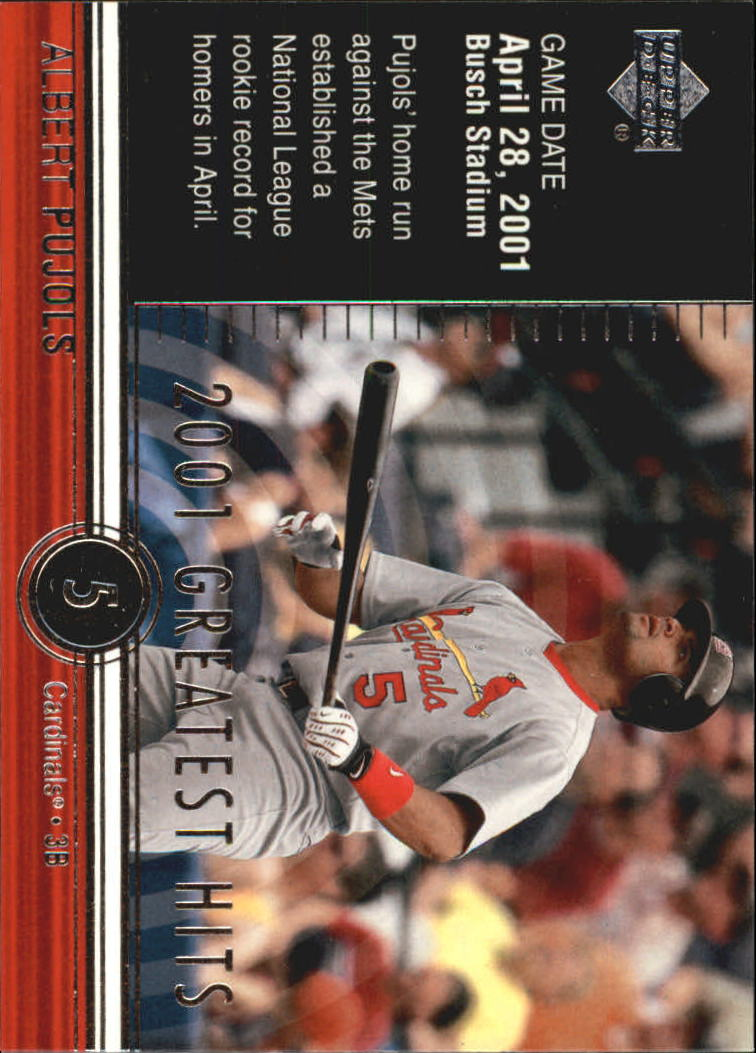 2002 Upper Deck 2001 Greatest Hits #GH3 Albert Pujols