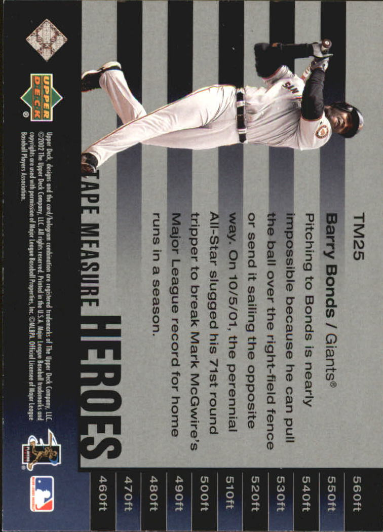 2002 UD Piece of History Tape Measure Heroes #TM25 Barry Bonds back image