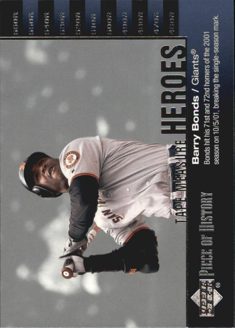 2002 UD Piece of History Tape Measure Heroes #TM25 Barry Bonds